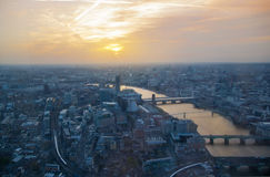London sunset view from the Shard. Centre of London, London eye, River Thames with beautiful light reflection. Royalty Free Stock Photos