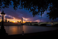London. Sunset in London Westminster Bridge  Thames River House of Parliament  Europe Royalty Free Stock Photography