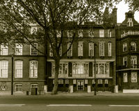 London Swan House on Chelsea Embankment. Grade II listed house built in 1876, Black and White Split Toning Photography Royalty Free Stock Photo