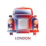 London symbol  - black cab icon – colorful graphics - modern Stock Photography