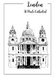 London symbol St. Paul`s Cathedral. Beautiful hand drawn vector sketch illustration. Stock Photo