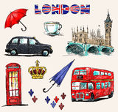 London symboler. Uppsättning av teckningar. Arkivbilder