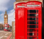London symbols with BIG BEN, DOUBLE DECKER BUS and Red Phone Booths in England, UK Royalty Free Stock Photos