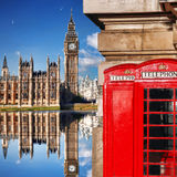 London symbols with BIG BEN and red PHONE BOOTHS in England Stock Photography