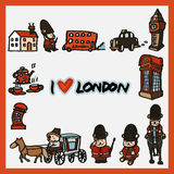 London Symbols Elements Doodle Vector Illustration . Royalty Free Stock Photography