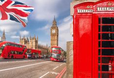 London symbols with BIG BEN, DOUBLE DECKER BUS and Red Phone Booths in England, UK Royalty Free Stock Images