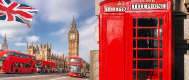 London symbols with BIG BEN, DOUBLE DECKER BUS and Red Phone Booths in England, UK Stock Images
