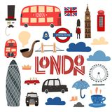 London symbols hand drawn set. Booth, bus, Tower bridge, London eye etc. Stock vector royalty free illustration