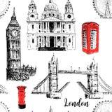 London symbols: St. Paul Cathedral, Big Ben and Tower Bridge. Beautiful hand drawn  sketch seamless pattern. London architectural symbols: St. Paul Cathedral Royalty Free Stock Photos