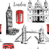 London symbols: St. Paul Cathedral, Big Ben and Tower Bridge. Beautiful hand drawn vector sketch illustration. Royalty Free Stock Photography