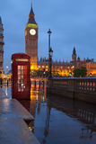 London symbols: telephone box, clock Big Ben Royalty Free Stock Images