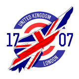 London t-shirt design. Tee templates with wing and United Kingdo Royalty Free Stock Photos