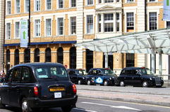 London taxi line stock photos