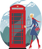London telephone. Urban girl on a side walk in London Royalty Free Stock Photos