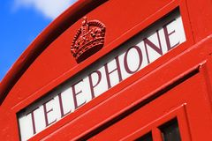 London Telephone Booth. Telephone sign on London Telephone Booth stock photo