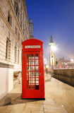 London Telephone Booth and Big Ben Stock Image