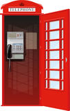 London Telephone Booth. Empty London red classic telephone booth with an open door royalty free illustration