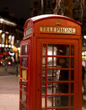 London Telephone Booth at night London UK. London Telephone Booth at night London England- United Kingdom Royalty Free Stock Photos