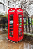 London telephone booth on a rainy day Stock Image
