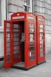 London Telephone Booths. Classic red telephone booths in London, England Royalty Free Stock Photography