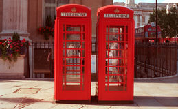 London telephone booths. Two typical telephone booths at Trafalgar Square Royalty Free Stock Photo