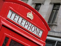 London Telephone Box. A red telephone box in the heart of London royalty free stock photo