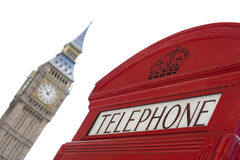 London telephone box with Big Ben as background Stock Images