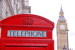 London telephone box and Big Ben in background Stock Photos