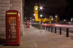 London telephone box and Big Ben in background Stock Images