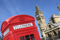 London UK British red telephone box booth big ben Royalty Free Stock Photos