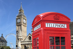 England British London red telephone box booth big ben Royalty Free Stock Image