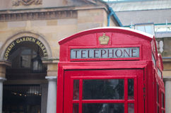 London telephone cabin. Traditional red telephone cabin next to Covent Garden, Lodon UK Royalty Free Stock Photos