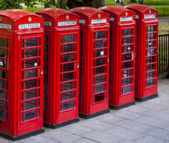 London Telephone Red Cabins Stock Photos