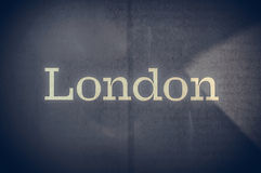 London text written on a blue background Royalty Free Stock Photography