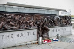Memorial to the Battle of Britain. London, 28th September 2017:-Memorial to the Battle of Britain pilots from Fighter Command of World War 2 Royalty Free Stock Images