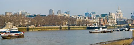 London Thames. Boats on the Thames and St-Paul's Cathedral, London stock photo