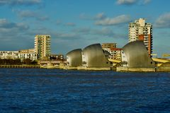 London Thames barriers on the river thames. Flood defence system spreads across the river thames in London royalty free stock images