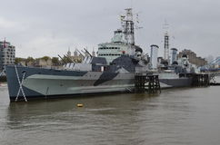 London, Thames, HMS Belfast Stock Image