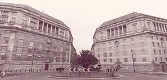 London Thames House and Imperial Chemical House. Grade II listed Buildings, View from Lambeth Bridge, Black and White Split Toning Haze Effect Photography Stock Images