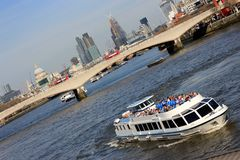 London Thames river cruising Royalty Free Stock Photo