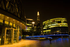 London Thames Southwark bank. Night view on London bussines skycrapers on Thames bank in Southwark Stock Photos
