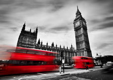 London, The UK. Red Buses And Big Ben, The Palace Of Westminster. Black And White Royalty Free Stock Images