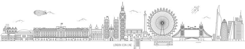 London Thin Line Vector Skyline. London Thin Line Skyline Vector Illustration with the most iconic landmarks of the United Kingdom Capital city vector illustration