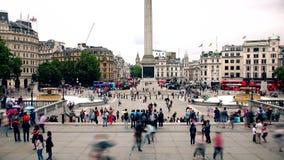 London Tid schackningsperiod Trafalgar Square ett favorit- ställe av turister lager videofilmer