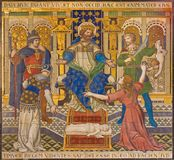 London - The tiled mosaic of Salomon Judgment Just Judgment in Westminster cathedral Stock Images
