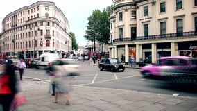 London. Time lapse.  Central road. Passing cars and buses. stock video