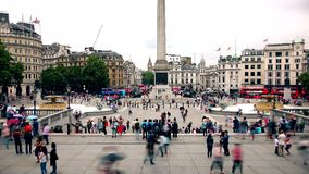 London. Time lapse. Trafalgar Square, a favorite place of tourists. stock video footage