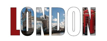 London title letters composite image stock images