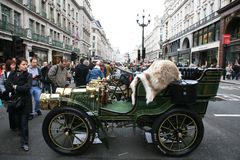London to Brighton Veteran Car Run. London, UK - November 06, 2010: Display of vintage cars. Some participants display their old cars in London's Regent Street Stock Image