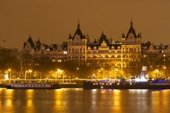 London Tourism. London river on a rainy night Royalty Free Stock Photography